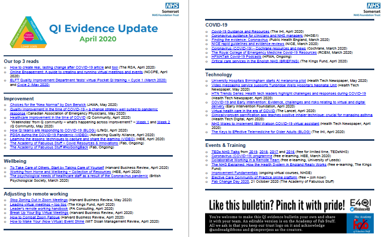 QI Evidence Update - April 2020 (including COVID-19 Evidence) featured image