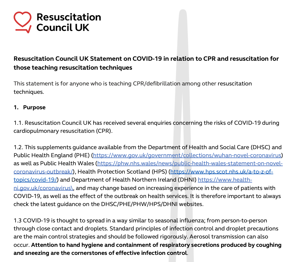 Resuscitation Council UK Statements on COVID-19 (Coronavirus), CPR and Resuscitation featured image