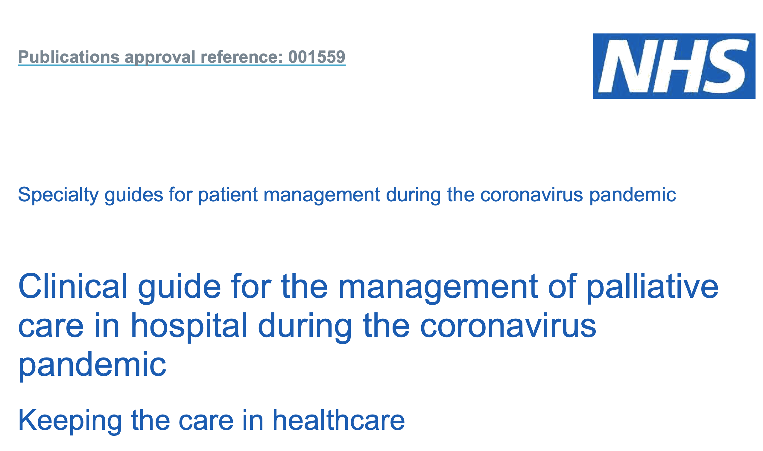 Palliative Care in hospital during the coronavirus pandemic - NHSE featured image