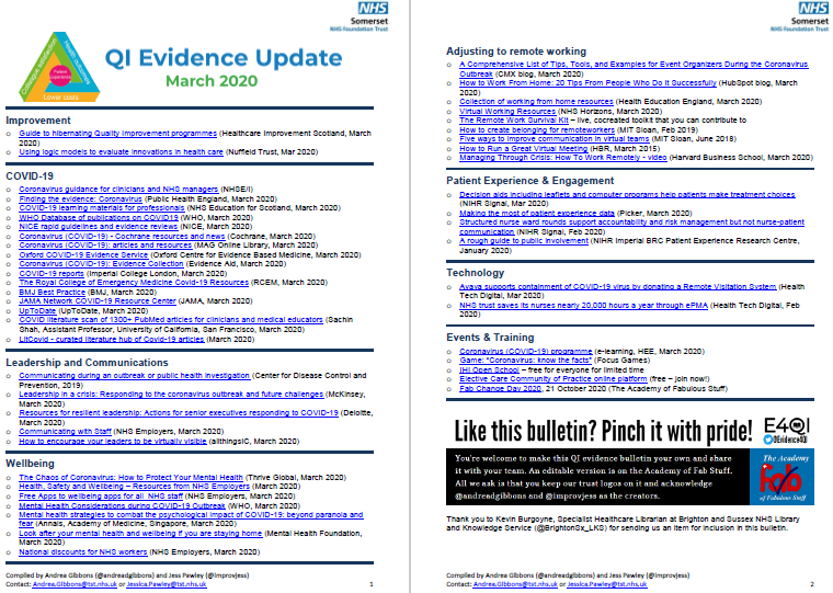 QI Evidence Update - March 2020 - specific COVID_19 evidence featured image